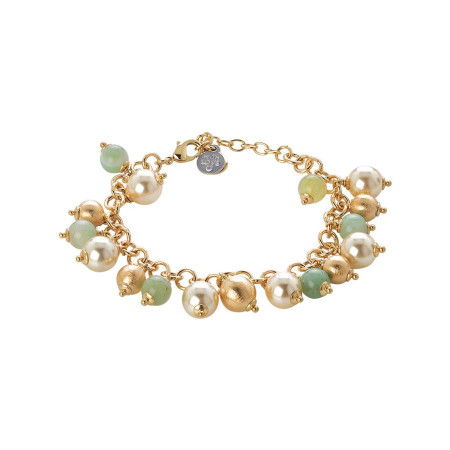 Bracciale con agata light yellow, perle Swarovski light gold e sfere graffiate