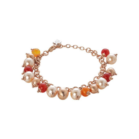 Bracciale con agata orange, perle Swarovski peach e sfere graffiate