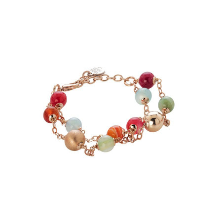 Bracciale con agata light yellow, orange, fucsia e celeste e sfere rosate