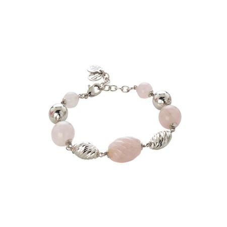 Bracciale con quarzo rosa e rosa torchon