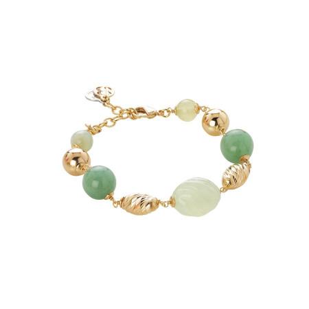 Bracciale dorato con agata jade torchon e light yellow