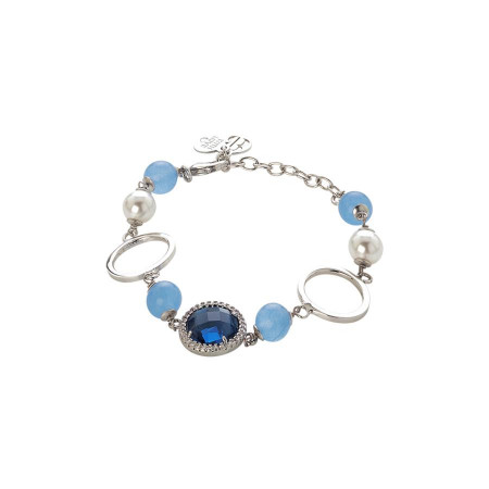 Bracciale con agata light blue, perle Swarovski e zirconi