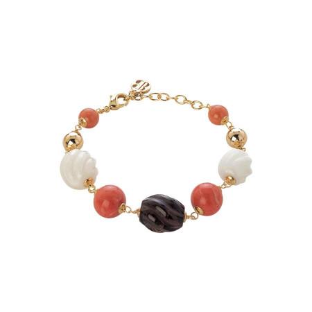 Bracciale con perle Swarovski coral e pietre agata white, agata white torchon e quarzo fumè torchon