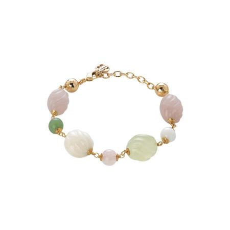 Bracciale con agata light yellow e white, quarzo rosa e agata jade torchon