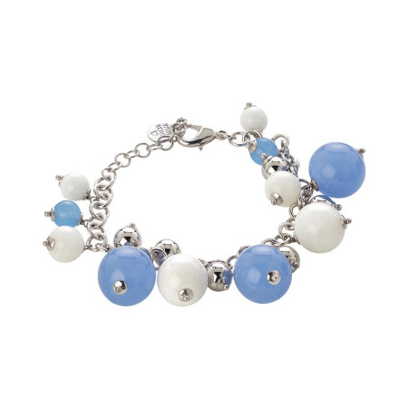 Bracciale con agata light blue e agata white