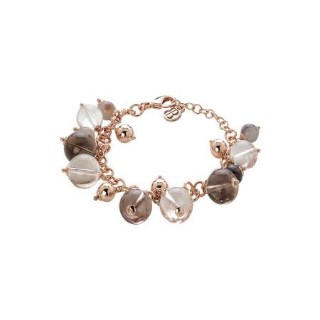 Bracciale rosato con agata brown, quarzo fumè e cristallo di rocca