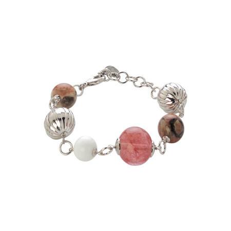 Bracciale con  agata color fragola, crazy lace e white