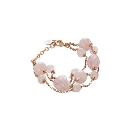 Bracciale  con quarzo rosa e quarzo rosa torchon
