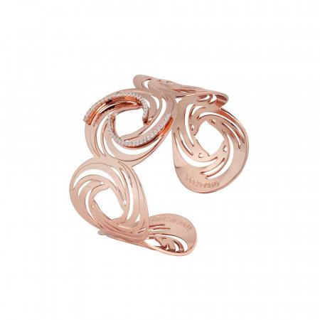 Bracciale a fascia placcato oro rosa con motivo decorativo a vortice e zirconi