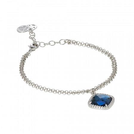 Bracciale con cristallo briolette blue montana e zirconi