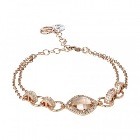 Bracciale doppio filo con cristallo peach e zirconi