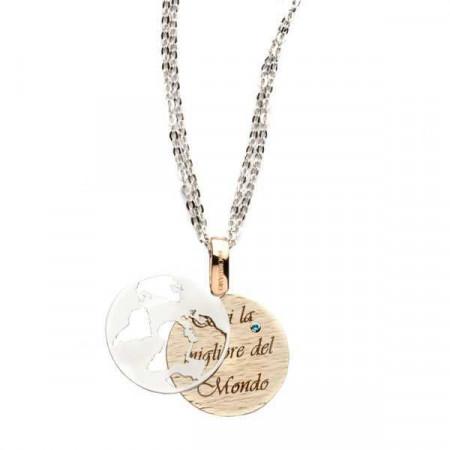 """Collana in bronzo con messaggio inciso: """"Sei la migliore del mondo"""""""