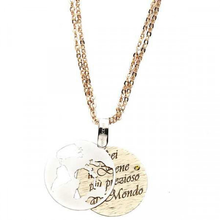 """Collana in bronzo con messaggio inciso: """"Sei il bene più prezioso al mondo"""""""