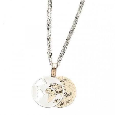 """Collana in bronzo con messaggio inciso: """"Al mondo non esiste amore più grande del tuo"""""""
