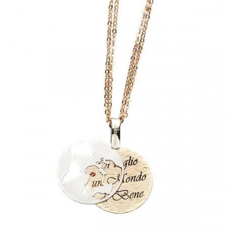 """Collana in bronzo con messaggio inciso: """"Ti voglio un mondo di bene"""""""