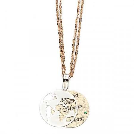 """Collana in bronzo con messaggio inciso: """"In qualsiasi posto al mondo sarò…tu ci sarai"""""""