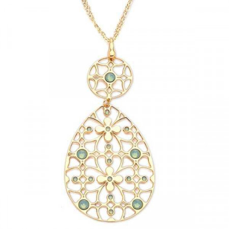 Collana in bronzo e cristalli Swarovski verde malva opale