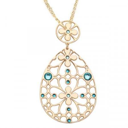 Collana in bronzo e cristalli Swarovski verde acqua
