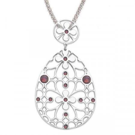Collana in bronzo e cristalli Swarovski ciclamino opale