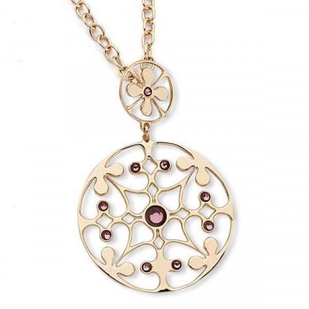Collana in bronzo con cristalli Swarovski ametista chiara