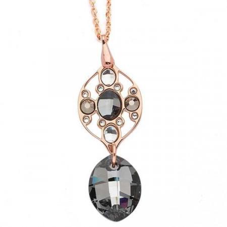 Collana in bronzo con mosaico di cristalli Swarovski grigio scuro e oro metallico