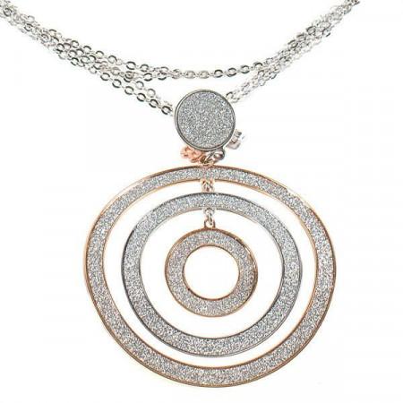 Collana con pendente a tre cerchi concentrici