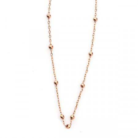 Collana a sfere in bronzo placcato oro rosa