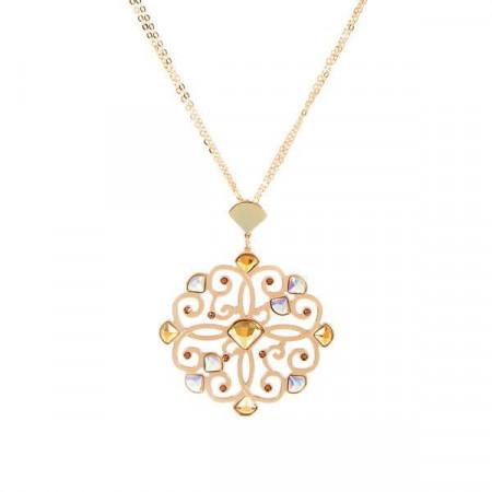 Collana placcata oro giallo con pendente barocco e cristalli