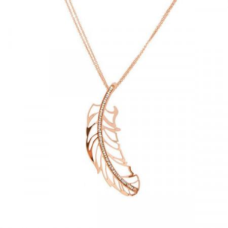 Collana placcata oro rosa con pendente a piuma e Swarovski