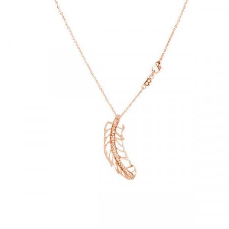 Collana placcata oro rosa con ciondoloa piuma e Swarovski
