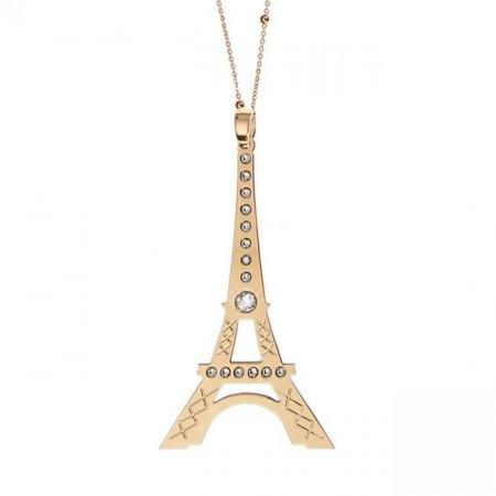 Collana placcata oro giallo con maxi pendente raffigurante la Tour Eiffel