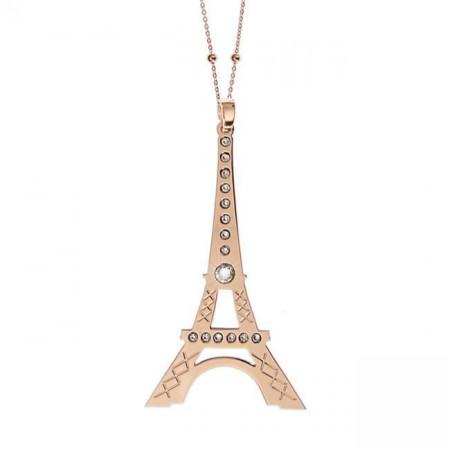 Collana placcata oro rosa con maxi pendente raffigurante la Tour Eiffel