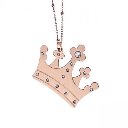 Collana placcata oro rosa con maxi pendente a corona
