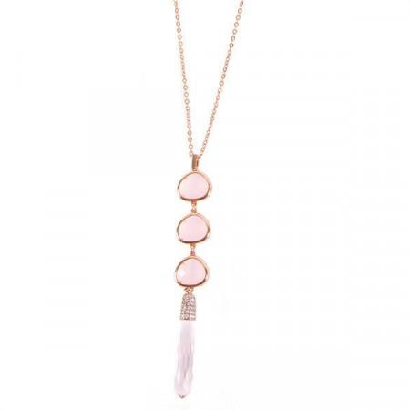Collana lunga placcata oro rosa con cristalli briolette e a goccia rosa opaco