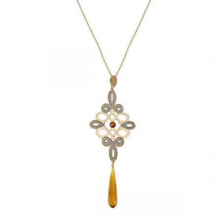 Collana lunga placcata oro giallo con maxi pendente a nodo tibetano