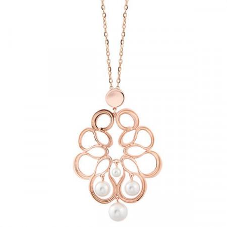 Collana rosata con decoro a nastro e perle Swarovski