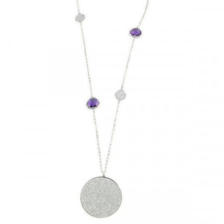 Collana con cristalli viola e pendente glitterato