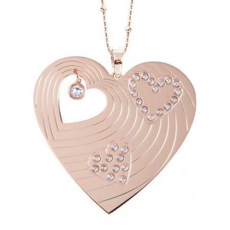 Collana rosata con maxi pendente a forma di cuore