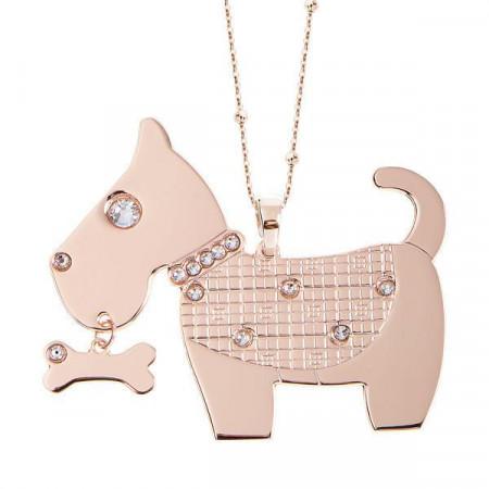 Collana rosata con maxi pendente a forma di tenero cagnolino