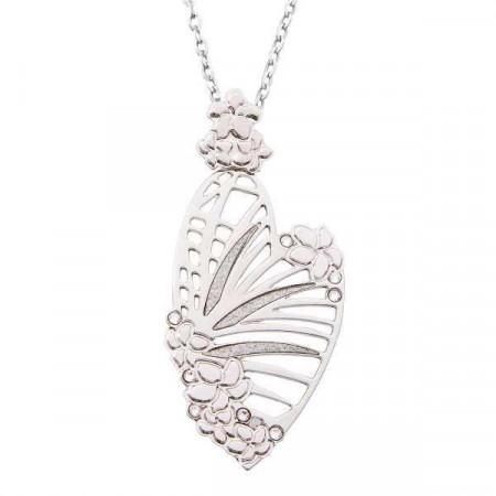 Collana con pendente a forma di cuore, traforo naturalistico e Swarovski