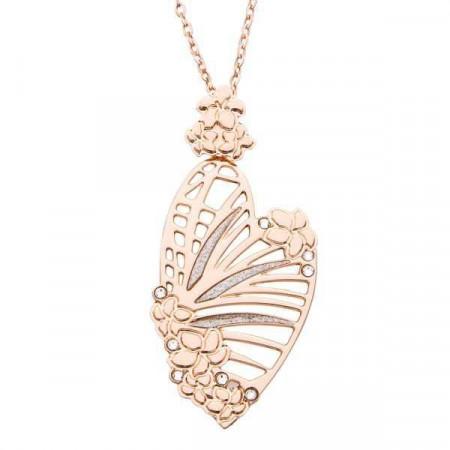Collana rosata con pendente a forma di cuore, traforo naturalistico e Swarovski