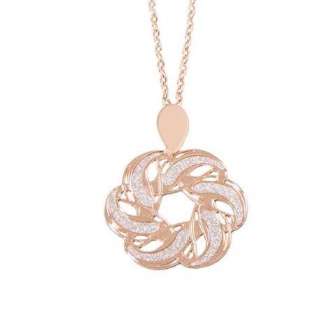 Collana rosata con nodo d'amore pendente
