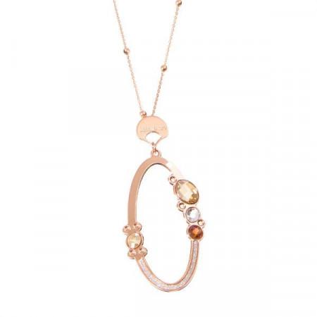 Collana rosata con pendente ovale e cristalli Swarovski