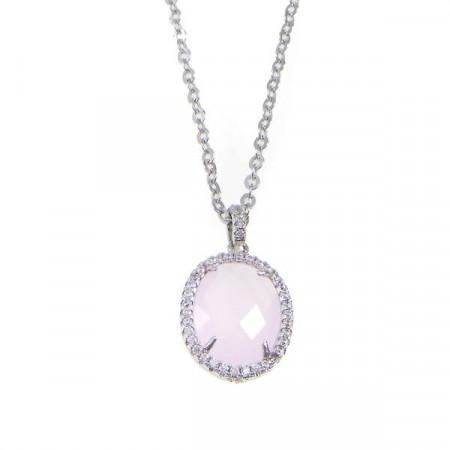 Collana con pendente in cristallo briolette rosa e zirconi