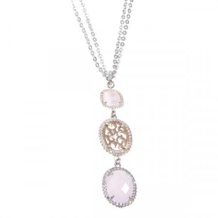 Collana con pendente dal motivo arabesco, zirconi e cristalli briolette rosa