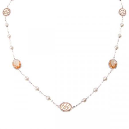 Collana lunga con cristalli briolette champagna, perle Swarovski e zirconi