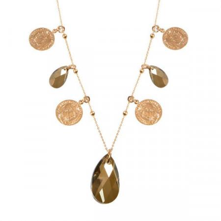 Collana lunga con charms e cristallo a goccia bronze shade finale