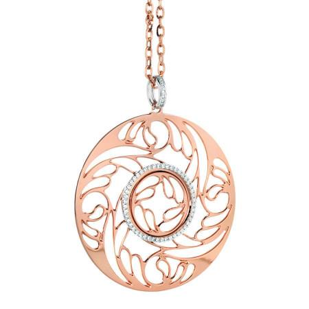 Collana rosata con pendente dal decoro celtico e zirconi