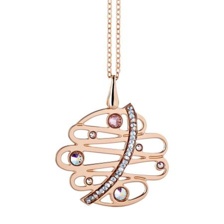 Collana rosata con pendente, Swarovski e crystal rock