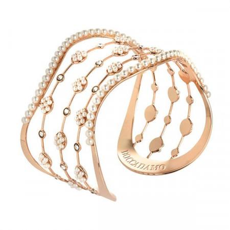 Bracciale rigido rosato con perle e cascata di cristalli Swarovski